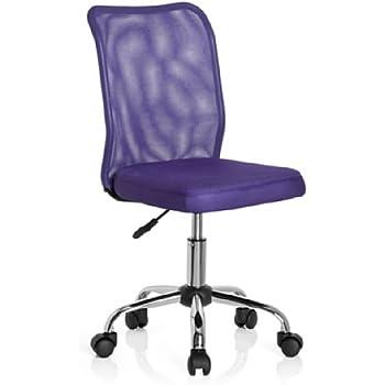 hjh OFFICE 685970 Sedia da ufficio per bambini KIDDY NET tessuto mesh viola, senza braccioli, regolabile in altezza, schienale traspirante, base stabile in acciaio cromato