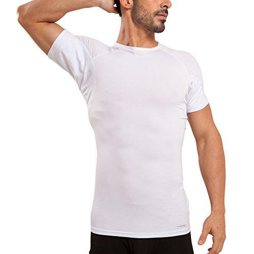 Tagless Rundhalsausschnitt T-shirt (Ejis Schweißfestes Herren unterhemd mit Schweißeinlagen und antimikrobiellem Silber, Mikromodal-Rundhalsausschnitt (groß, Weiß))