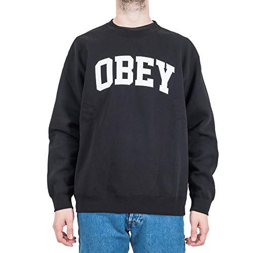 Obey Collegiate Crew Felpa Uomo (M - Black) Black Collegiate Crew Sweatshirt