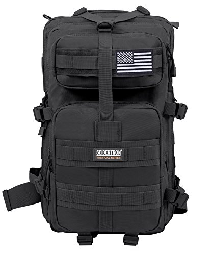 Seibertron Falcon Taktischer Militärischer Rucksack Kompakt Angriff für Wandern Reisen Trekking Tasche Tactical Bag Assault Backpack Military Camping Pack Outdoor Daypacks (Black 37L) -