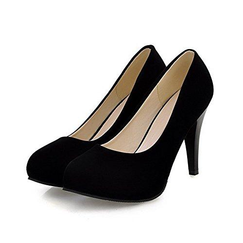 VogueZone009 Femme Rond à Talon Haut Suédé Couleur Unie Tire Chaussures Légeres Noir