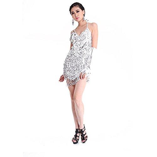 Vestido de lentejuelas Moresave para bailes latinos, rumba, tango sin espalda, mujer, plata, talla única