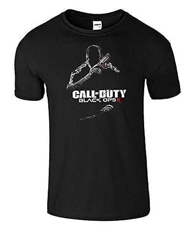 SnS Online Rouge (Red) / Noir Design - Jeunesse (M) Enfants 7-8 ans Black Ops II Call of Duty Hommes Femmes Dames Unisexes T