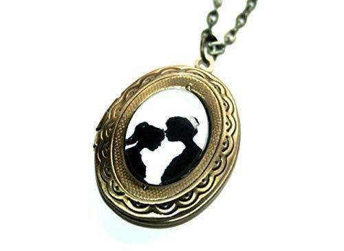 Handmade Scherenschnitt Freundschafts Medallion Kette, 60+10cm, bronzefarben, Glücksbringer Freundschaftskette, ein süßes Geschenk für die beste Freundin oder die liebste Schwester -