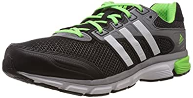 adidas Men's Nova Cushion M Cherry Black, White and Solar Green Mesh Running Shoes - 10 UK