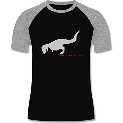 Nerds & Geeks - T-Rex hates Pushups - zweifarbiges Baseballshirt für Männer Schwarz/Grau Meliert