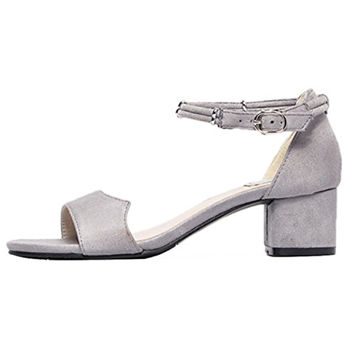 Oasap Faux suede square heel summer sandals medium heels Grey