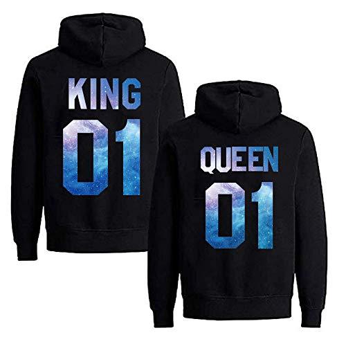 Daisy for U Pärchen Hoodie Set King Queen Pullover 1 Stücke King-Schwarz-Blau-S(Herren)