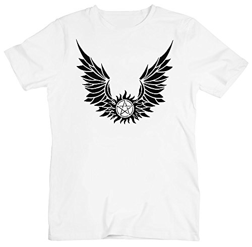Pentagram With Wings Men's T-Shirt Extra Large