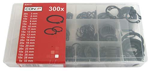 Werkzeyt Sicherungsringe-Sortiment 300-teilig - Außen - Diverse Größen im Set (3 - 32 mm) - Vorsortiert in praktischer Kunststoffbox / Innen-Seegering / Sortimentskasten / B34151