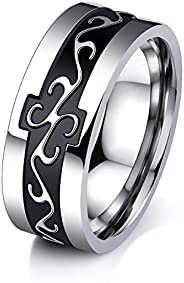 Yellow Chimes Crafted Band Steel by Yellow Chimes Ring for Men (Silver)(YCSSRG-G529CF-SL)