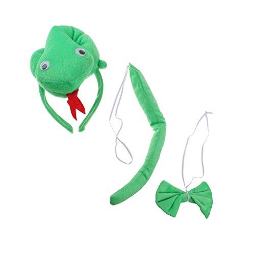 n Tier Stirnband Schleife Schwanz Kinder Kit Set Kostüm Zubehör - Grün Schlange, 3pcs/Set (Liebe Tier Kostüm)