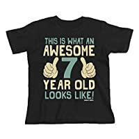 Buzz Shirts 7th Birthday Gift - This is What an Awesome 7 Year Old Looks Like - Boys Girls Kids, 7/8 Years, Black