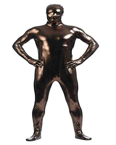 Unisex metallico corpo affioramento costume integrale per travestimento adulti caffè l