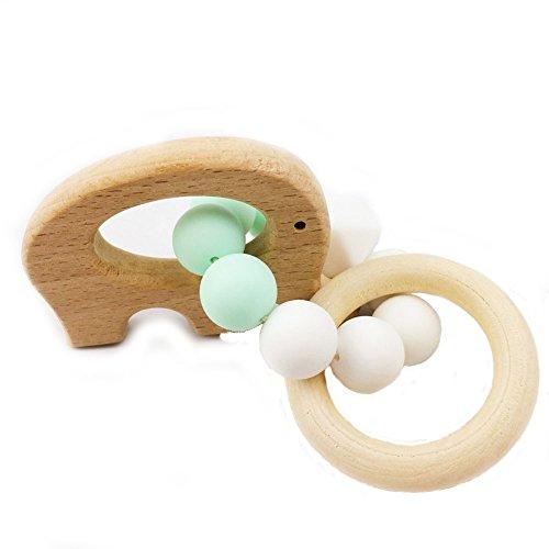baby tete Jouet de Dentition en Bois pour Bébé Hochet Bois Beech Elephant Jouets Montessori Cadeau à Croquer Nouveau-né