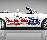 2x Seitendekor USA Flagge Tropfen 3D Autoaufkleber Digitaldruck Seite Auto Tuning bunt Aufkleber Rennstreifen Seitenstreifen Airbrush Racing Autofolie Car Wrapping Motorrad LKW Decals Tribal Seitentribal CW078, Größe Seiten LxB:ca. 80x20cm
