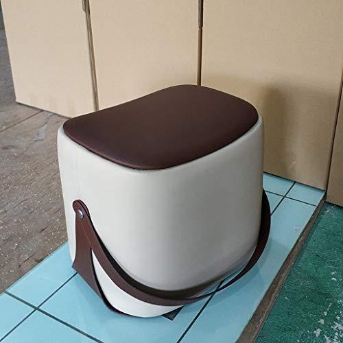 Bronze-leder-stuhl (HBJP Tragbarer Sofahocker Leder Bronze Kleiner Hocker - Mit Griff (Mehrfarbig Optional) (Color : Gray))