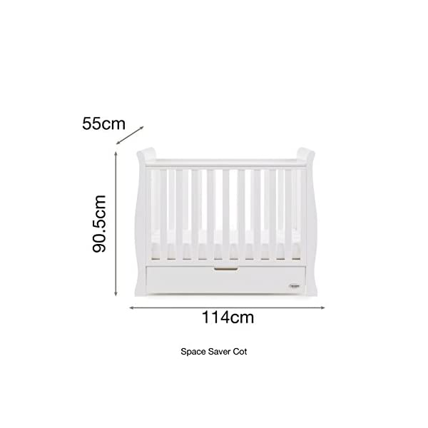 Obaby Stamford Sleigh Space Saver Cot - White Obaby Adjustable, 3 position base height Discreet under drawer included for extra storage Teething rails ensure delicate teeth are protected 5