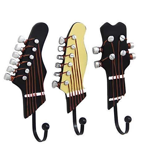 KUNGYO Juego de 3 Ganchos decorativos Guitarra Forma Vintage Perchero de pared para colgar sombrero,abrigos,Teclas,bolsa,silenciador