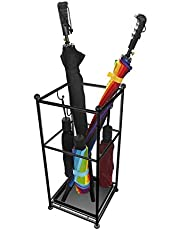 THE BEST SELLERS Stand Rack Metal Umbrella Holder with 3 Hooks and Drip Tray