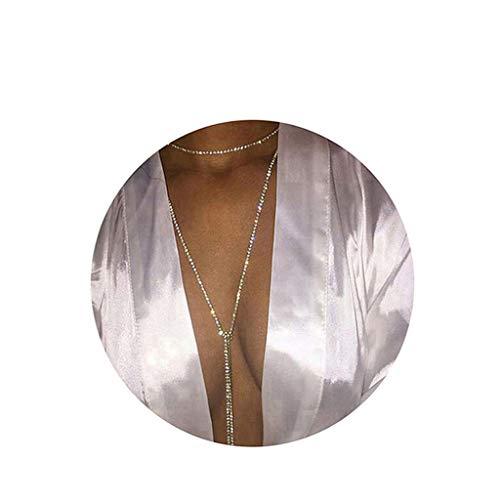 Dsaren Frauen Sexy Bikini Körper Kette Fashion Glänzend Halskette Körper Schmuck Sklave Halskette (C-Silber) (Körper Sexy Kette Bikini)