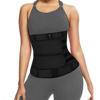 DUROFIT Latex Waist Cincher with Zipper Waist Trainer Trimmer Adjustable Waist Shaper Breathable for Women and Men Daily Use Black 2XL