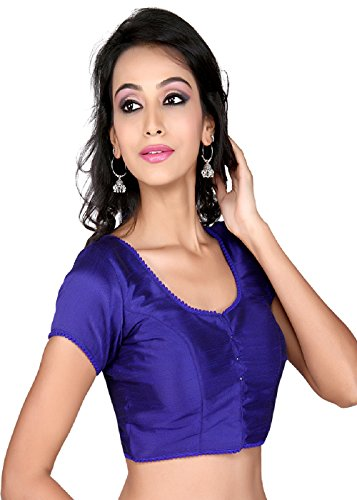 Areum Plain dupian silk ready made stitched padded Saree Blouse Sari Choli with bead lace  available at amazon for Rs.1615