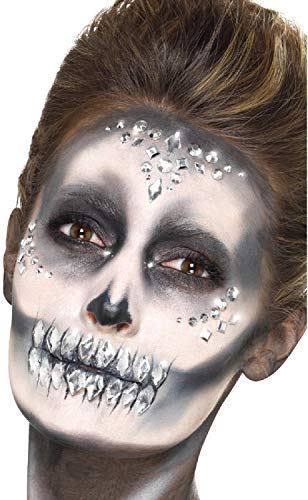 Ladies 100 Clear Crystal Stick On Face Gems Festival Sugar Skull Skeleton Make Up Halloween Fancy Dress Accessory