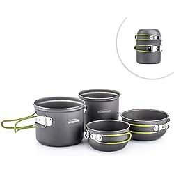 Overmont 4pics kit de utensilios de cocina vajilla ollas para camping senderismo excursión al aire libre de aluminio