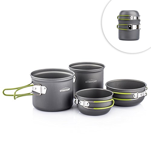 Overmont Portable Outdoor Camping Hiking Picnic Aluminum Alloy Cookware Pot Bowl Set