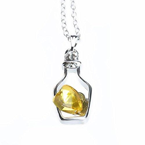 Collar para mujer, FEITONG Botellas collar de la mujer de las señoras de la manera populares en Crystal Amor Drift (Yellow)