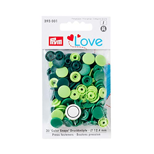 Prym Love Druckknopf Color KST 12,4 mm grün, Polyester, 12.4 mm cm Polyester-snap