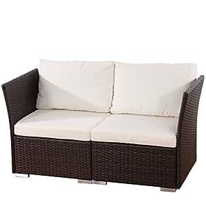 2er sofa 2 sitzer siena poly rattan gastronomie qualit t braun mit kissen in creme. Black Bedroom Furniture Sets. Home Design Ideas