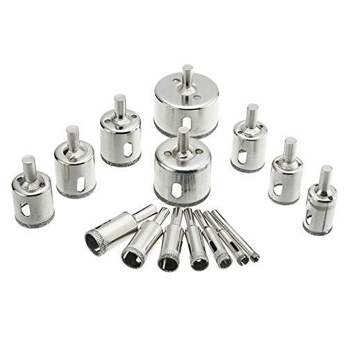 Diamant Lochsäge Bohrer Set Glas Fliesen Schneidwerkzeug 15pcs 6-50mm - Silber -