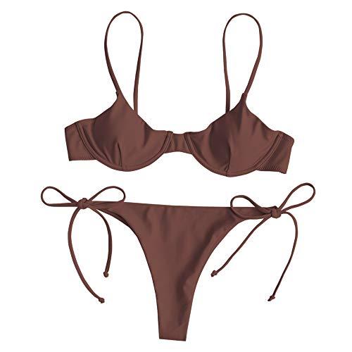 ZAFUL Set De Bikini con Aro Braguita Anudada a los Laterales Traje de Baño para Mujer 2019 Marrón...