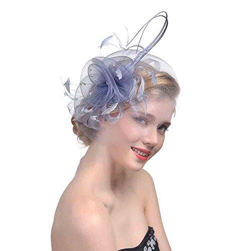 Kopfschmuck Fascinator Hut Blau Weiß Schwarz Mesh Bänder Federn Stirnband Einem Geteilten Clip Cocktail Tea Party Headwear für Mädchen Damen Elegante Schleier Feder Haar Klipp Hochzeit Haarband Damen-tea-party