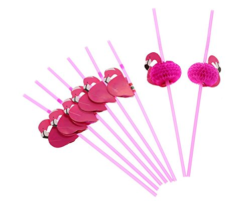 ds. distinctive style DSstyles Trinkhalm Flamingo Strohhalme Tropische Getränke dekorieren Party Supplies Kunststoff Strohhalme Set (50 Stück) - ()