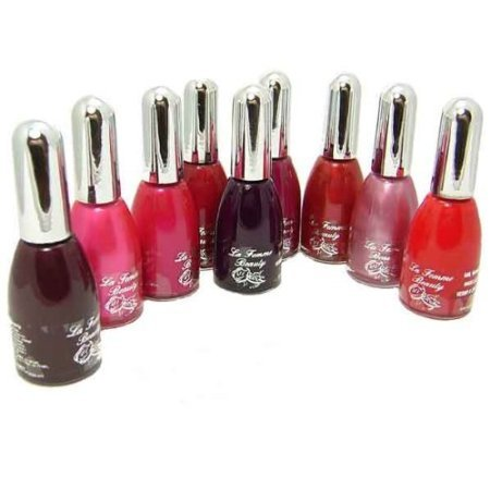 La Femme Nail Polish Set Of 9,Pink To Red Colours.