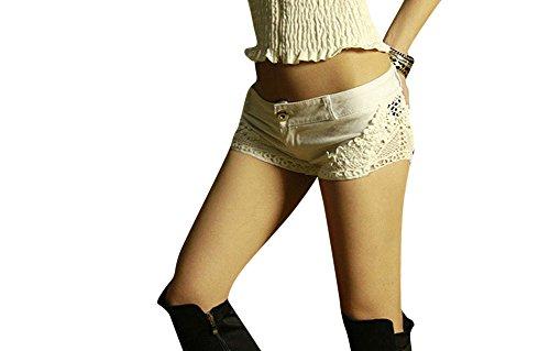 Femmes Dentelle Coutures Denim Taille Basse Jeans Pantlons Courtes Hot Shorts Blanc