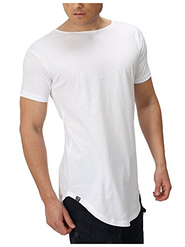 APE7 Longshirt - Herren T-Shirt Stylish & Cool Oversize Long Tee Regular/Loose Fit, 3 Farben in S - XL Weiß