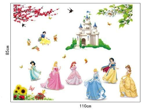 ufengke® Bella Princesa Encantadores Enanos y Castillo de la Historieta Pegatinas de Pared, Vivero Habitación de los Niños Removible Etiquetas de la pared / Murales