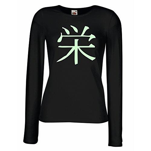 lepni.me Weibliche Langen Ärmeln T-Shirt Wohlstandlogo - Chinesisch - Japanisches Kanji-Symbol (Large Schwarz Fluoreszierend)
