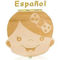Leisial Caja de Almacenamiento de Dientes de Leche Souvenir Caja Guardar Madera Diente Organizador de la Caja para Niños Niñas Bebé 1pc(Español)