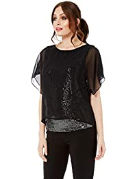 7cc2fb5572a2b Roman Originals Women Sequin Underlay Top - Ladies Christmas Party Festival  Going Out Blouses Embellished Sparkly