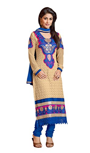 Khushali Women Chicken Karachi Unstitched Salwar Suit Dress Material(Beige)  available at amazon for Rs.1310