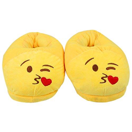 Männer Haus Baumwolle Hausschuhe Cartoon Plüsch Fußboden Schuhe Stiefeletten Kreative Frauen Emoji Cartoon Expression Lustige Weiche Paar Hausschuhe mit Non-Skid Fuß (Schuhe Füße Lustige)