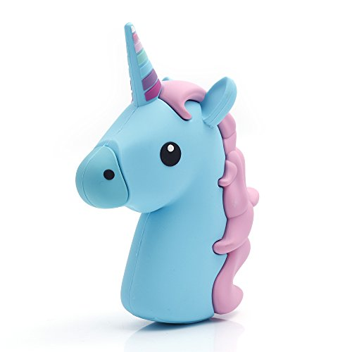 iProtect Emoji-Powerbank 2000mAh Externes Ladegerät im Unicorn-Emoji-Design in Türkis-Rosa für Smartphones und andere Geräte mit USB-Anschluss - inklusive Micro USB-Ladekabel