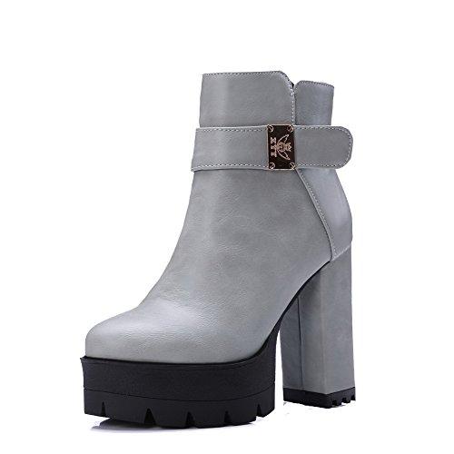 VogueZone009 Damen Niedrig-Spitze Reißverschluss Stiefel mit Metalldekoration, Braun, 39