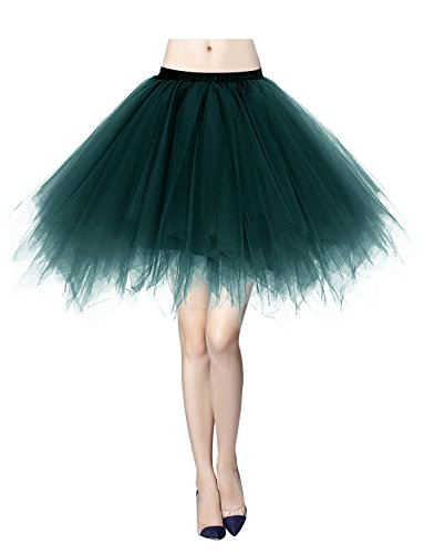 Gardenwed Damen Tutu Tüllrock Reifrock 50er Rockabilly Kurz Ballet Tanz Rock Dark Green XL (Jazz Tanz Kostüme Für Mädchen)