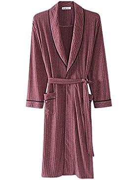 Albornoz de hombre/Ropa de casa de otoño e invierno/Pijamas de moda de rayas/batas Confort y ocio